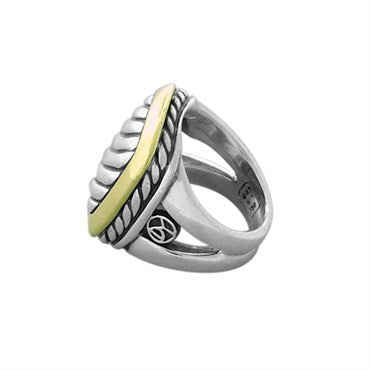image of David Yurman 18k Gold Sterling Silver Cable Ring