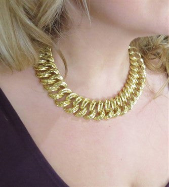 image of Henry Dunay Massive 18k Gold Hammered Link Necklace 244 g