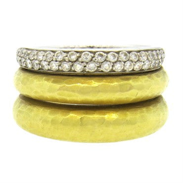 thumbnail image of H Stern 18k Hammered Gold Diamond Band Ring