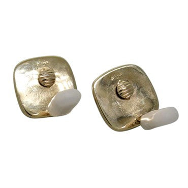 thumbnail image of Vintage Trianon Carved Crystal Gemstone 14k Gold Earrings