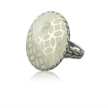 image of John Hardy Kawung Collection Sterling Silver White Enamel Ring