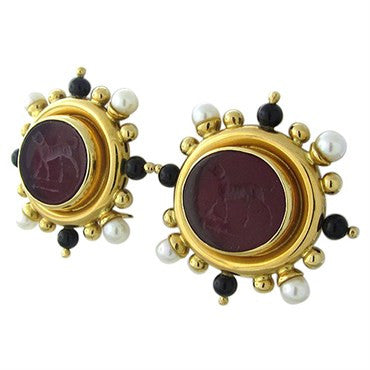 image of Elizabeth Locke 18K Gold Venetian Glass Intaglio Onyx Pearl Earrings