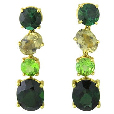 image of New Asprey 18k Gold Green Gemstone Earrings