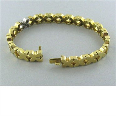 image of Estate Tiffany & Co 18k Yellow Gold Diamond X Bracelet