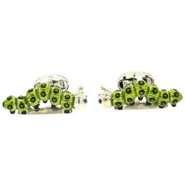 thumbnail image of Deakin & Francis Sterling Green Enamel Sapphire Caterpillar Cufflinks
