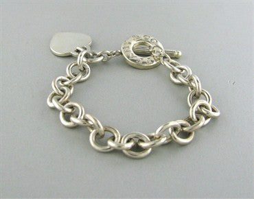 thumbnail image of Tiffany & Co. Sterling Silver Heart Tag Chain Link Bracelet