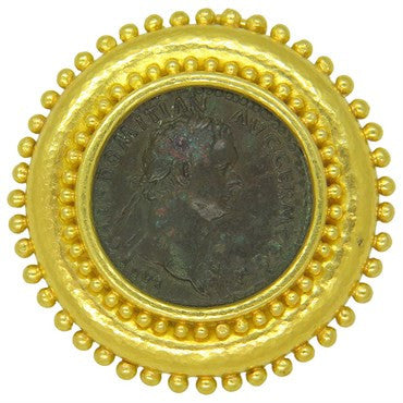 thumbnail image of Elizabeth Locke 18k Gold Ancient Coin Brooch Pin