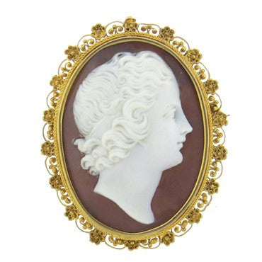 image of Antique Filigree 14k Gold Cameo Brooch Pendant
