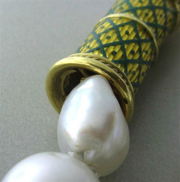 thumbnail image of Elizabeth Gage 18K Gold Green Enamel South Sea Baroque Pearl Necklace