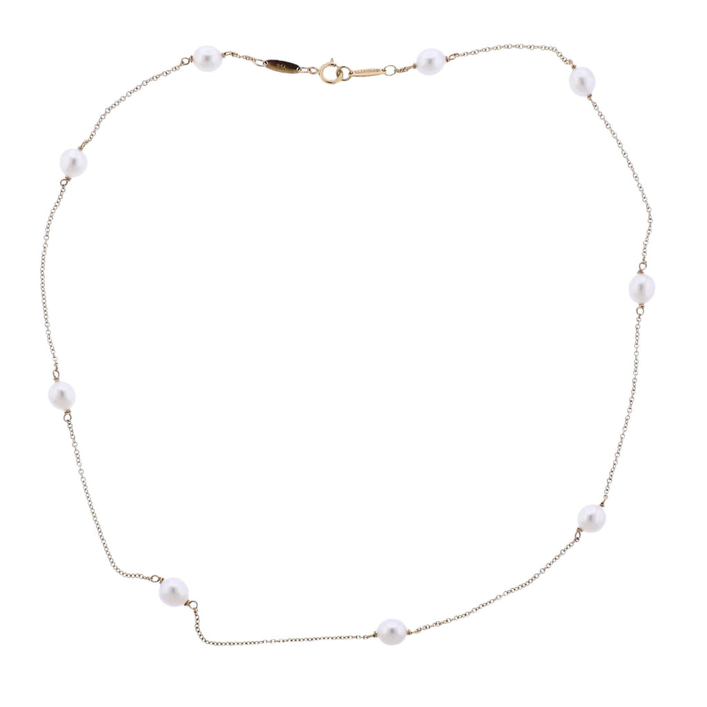 thumbnail image of Tiffany & Co Elsa Peretti Pearls by the Yard 18k Gold Necklace