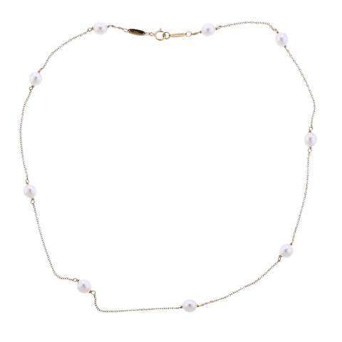 image of Tiffany & Co Elsa Peretti Pearls by the Yard 18k Gold Necklace