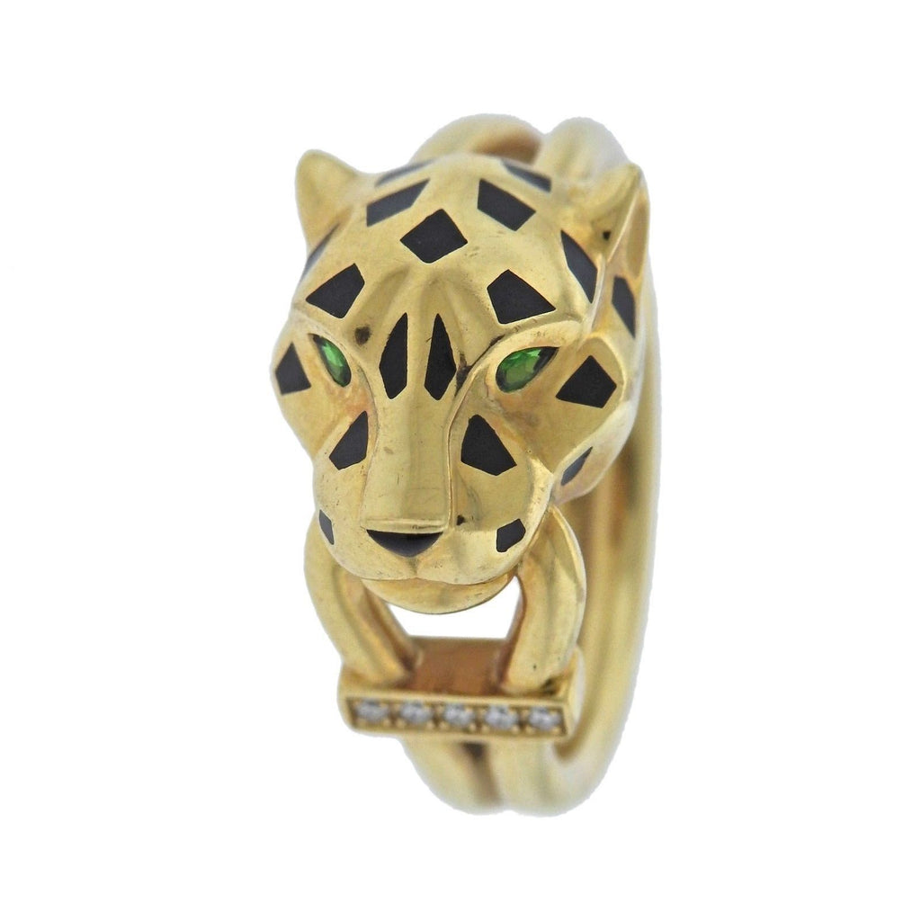thumbnail image of Cartier Panthere Diamond Enamel Tsavorite Gold Ring