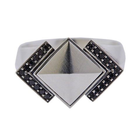 image of Georg Jensen Nocturne Black Diamond Sterling Silver Ring