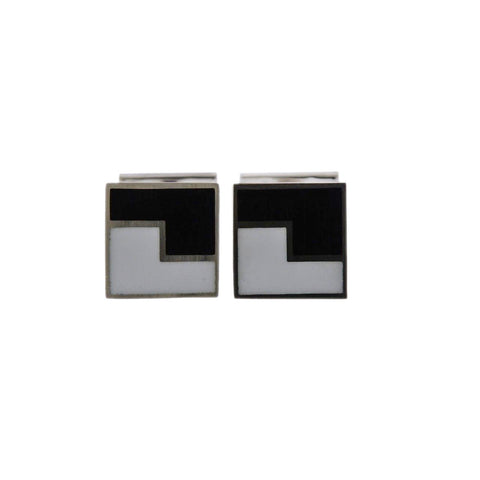 image of Georg Jensen Art Deco Sterling Silver Enamel Cufflinks