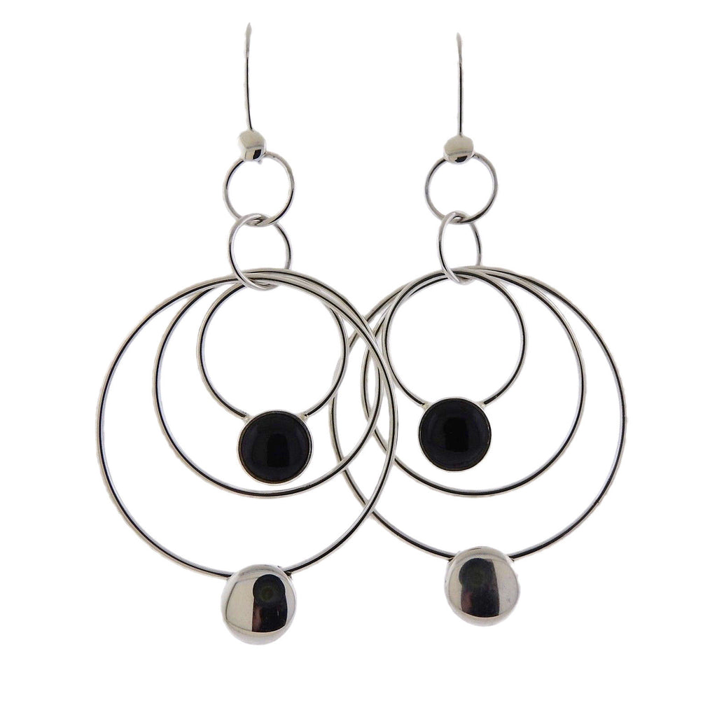 thumbnail image of Georg Jensen Regitze Black Jade Sterling Silver Earrings