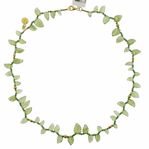 Gurhan Gold Turquoise Peridot Leaf Necklace