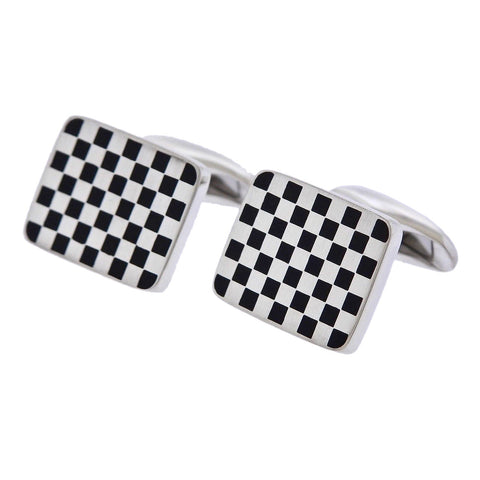 image of Georg Jensen Checkered Sterling Silver Cufflinks