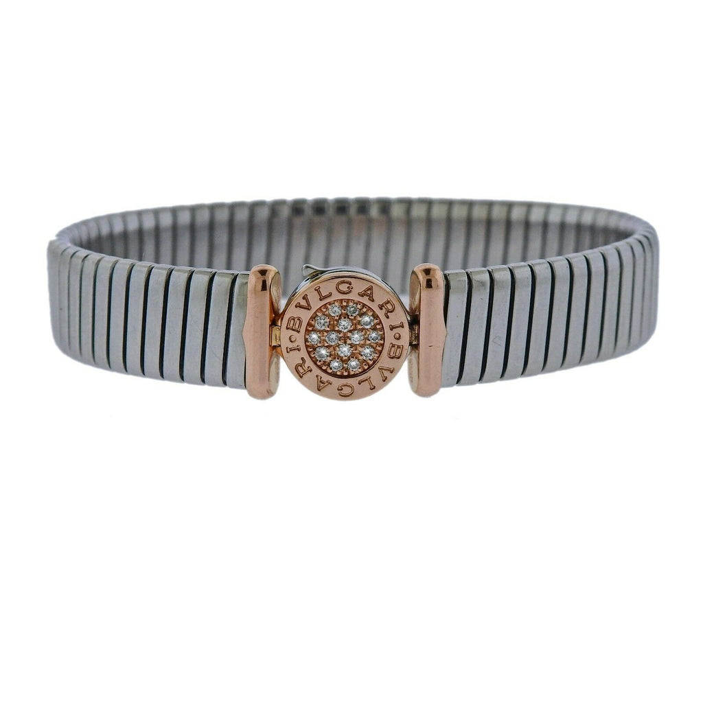 thumbnail image of Bvlgari Bulgari Tubogas 18k Gold Steel Diamond Bracelet