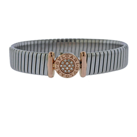 image of Bvlgari Bulgari Tubogas 18k Gold Steel Diamond Bracelet