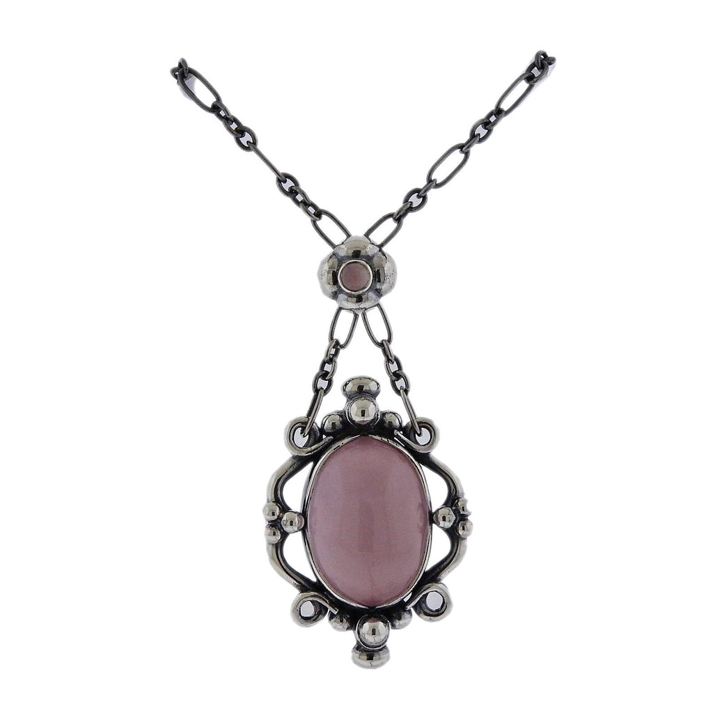 thumbnail image of Georg Jensen Rose Quartz Sterling Silver Pendant Necklace
