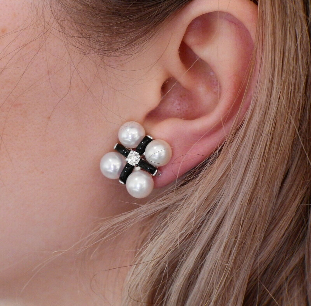 thumbnail image of Seaman Schepps Diamond Pearl Onyx Gold Earrings
