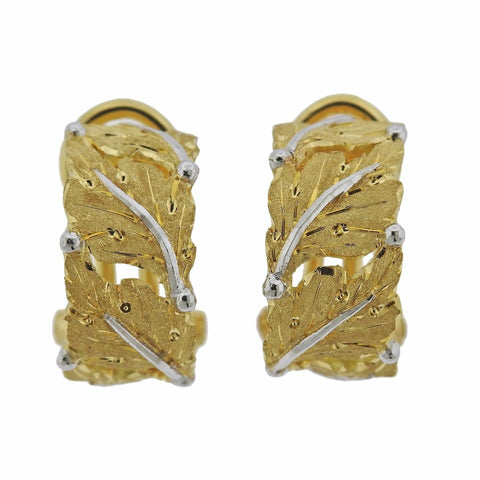 image of Buccellati Leaf Motif Hoop 18k Gold Earrings