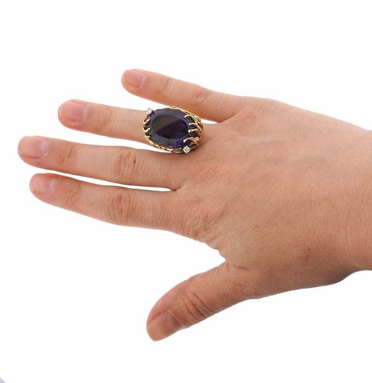 thumbnail image of 1970s Amethyst Diamond Gold Ring