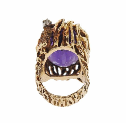 image of 1970s Amethyst Diamond Gold Ring