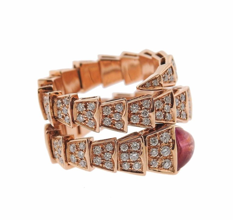 thumbnail image of Bulgari Serpenti Diamond Tourmaline 18 Karat Rose Gold Ring