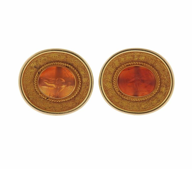 thumbnail image of Ancient Hardstone Intaglio Gold Archaeological Cufflinks