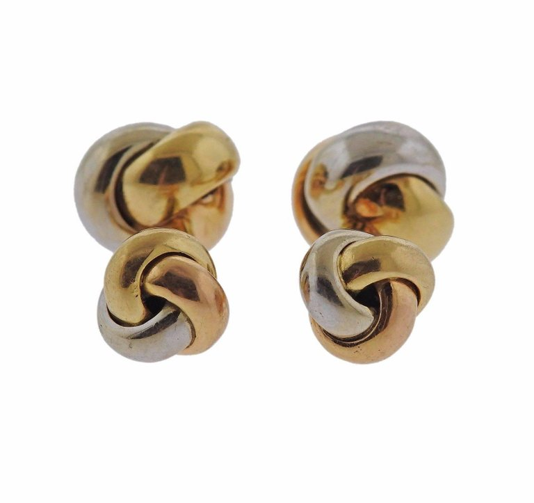 thumbnail image of Cartier Trinity Tri Color Gold Knot Cufflinks
