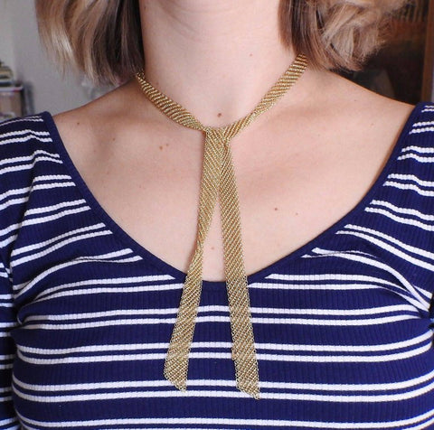 image of Tiffany & Co. Elsa Peretti Mesh Scarf Gold Necklace