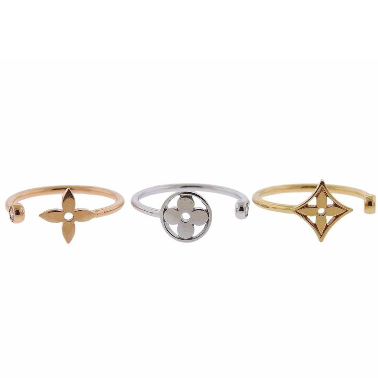 thumbnail image of Louis Vuitton Diamond Gold Stacking Ring Set