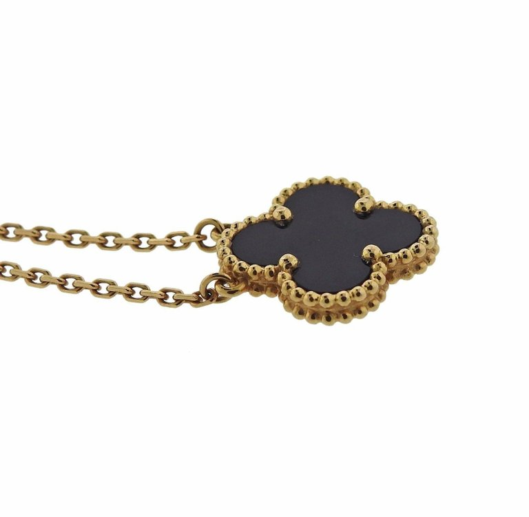 thumbnail image of Van Cleef & Arpels Vintage Alhambra Onyx Gold Pendant Necklace