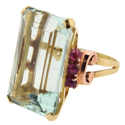 Retro Gold Aquamarine Ruby Cocktail Ring