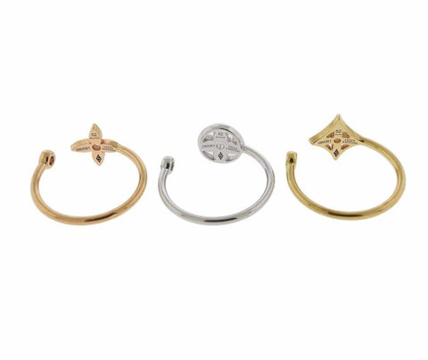 image of Louis Vuitton Diamond Gold Stacking Ring Set