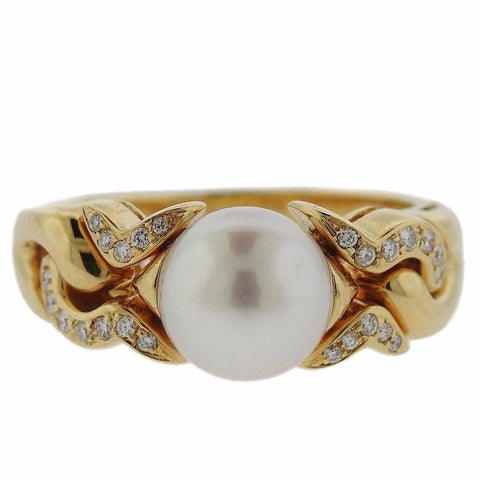 Classic Bulgari Pearl Diamond Gold Ring