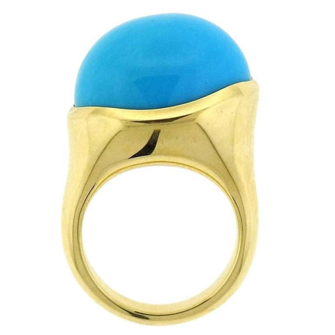 Tiffany & Co. Elsa Peretti Turquoise Cabochon Gold Ring