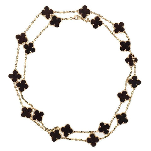 Van Cleef & Arpels Vintage Alhambra 20 Motif Wood Gold Necklace