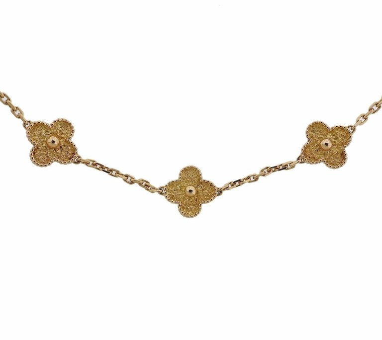 thumbnail image of Van Cleef & Arpels Vintage Alhambra Ten Motif Gold Necklace