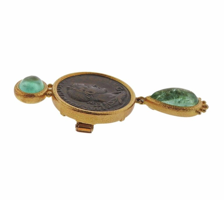 thumbnail image of Elizabeth Locke Ancient Coin Beryl Gold Brooch