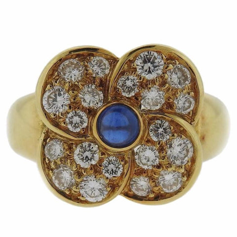Christian Dior Sapphire Diamond Gold Flower Ring