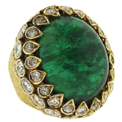 Magnificent Emerald Cabochon 5.70ct Diamond Gold Ring