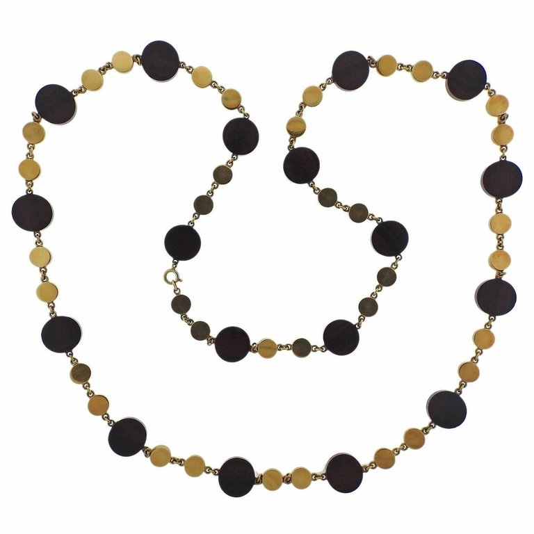 thumbnail image of 1970s Ebony Wood Gold Long Necklace