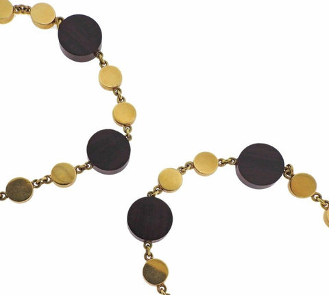 image of 1970s Ebony Wood Gold Long Necklace