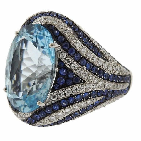 Asprey Gold Diamond Sapphire Blue Topaz Cocktail Ring