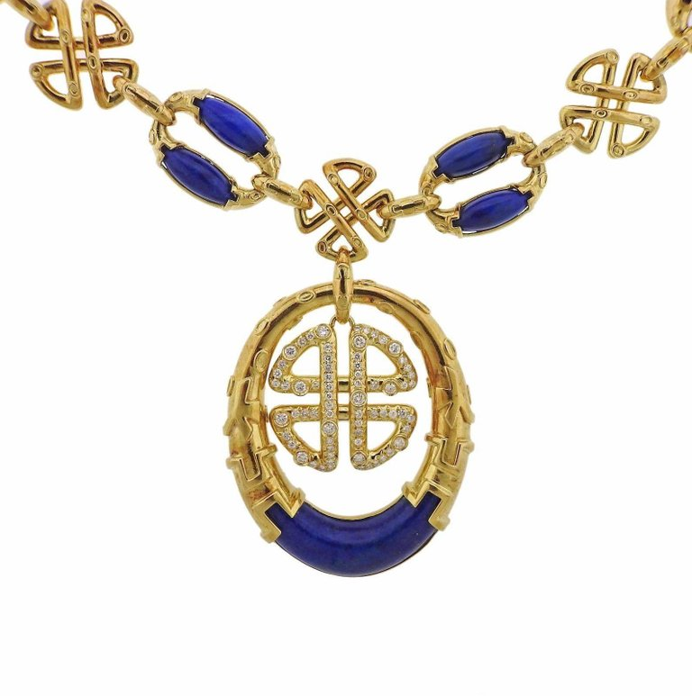 thumbnail image of 1980s Neiman Marcus Lapis Diamond Gold Pendant Necklace
