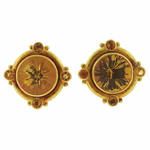 image of Elizabeth Locke Citrine Gold Earrings