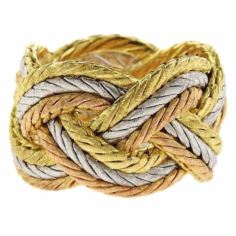 Buccellati Three Color Gold Braided Woven Ring