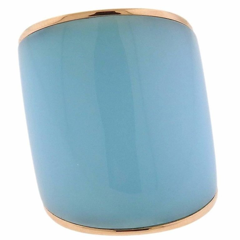 thumbnail image of Vhernier Camuration Turquoise Chalcedony Gold Ring